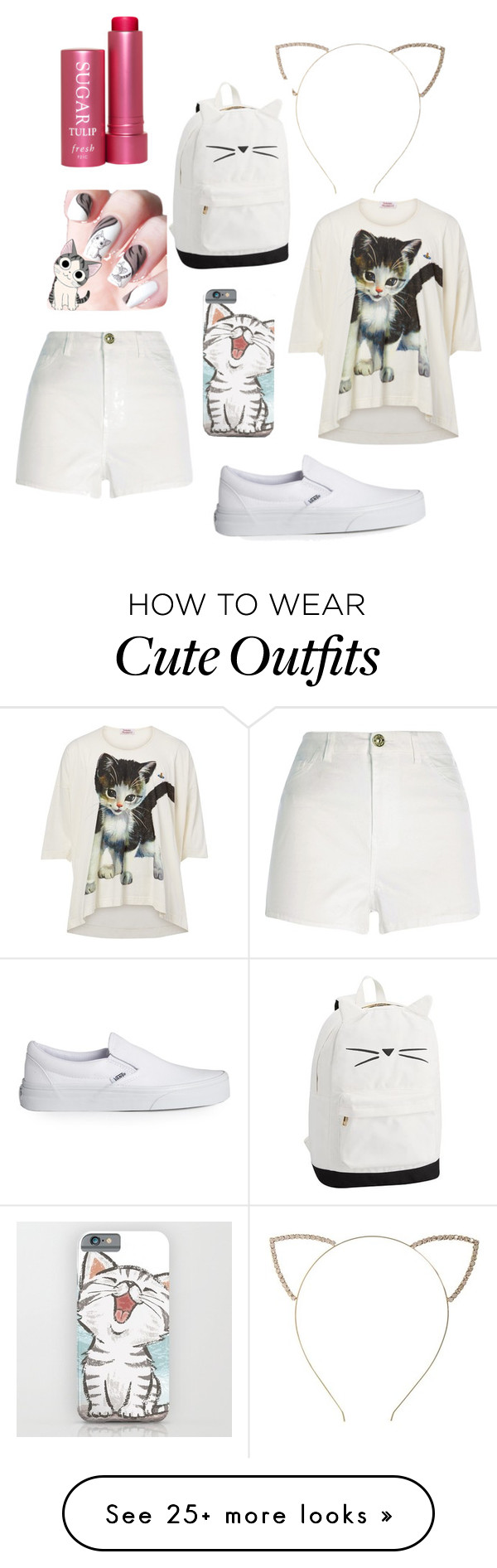 """""""Cat/School Outfit #3"""" by lucythegr8t on Polyvore featuring Vivienne Westwood, River Island, Vans, Cara and Fresh"""