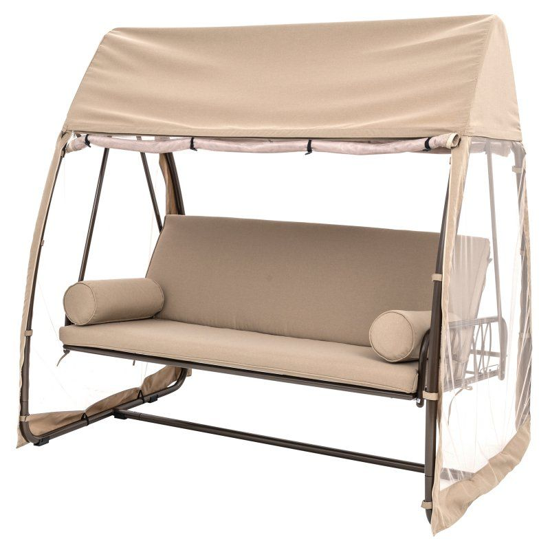 SORARA Garden Patio Swing Chair 2 Persons Seater Swinging Hammock Canopy Outdoor Cushioned Bench Bed Seat