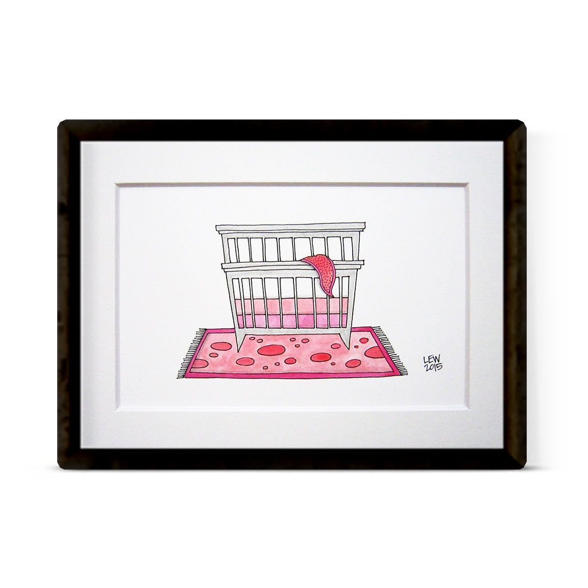 """PINK CRIB"" ORIGINAL ILLUSTRATION"