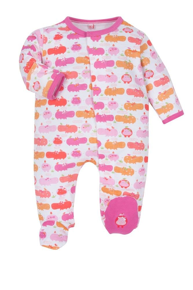 6fab29053 Magnificent Baby Girl s Footie (Girl Hippo)