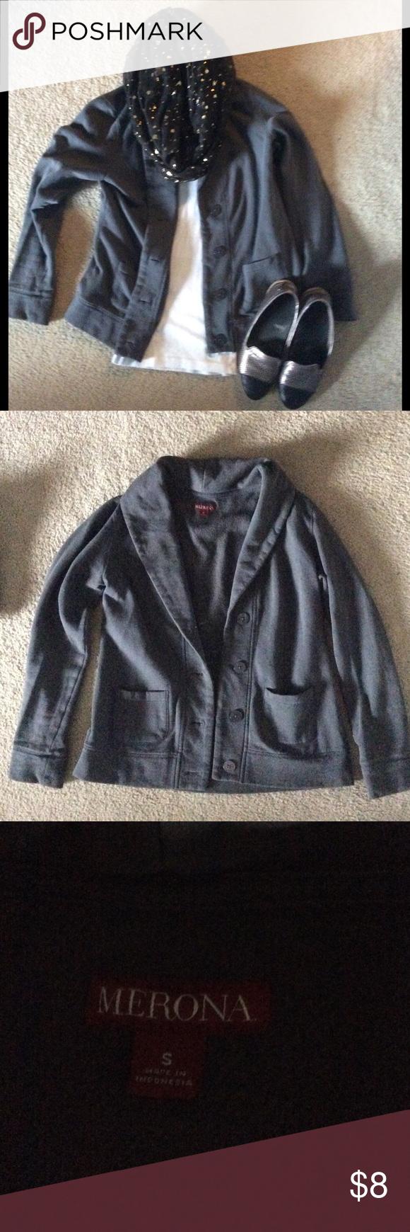 MERONA Sweater Blazer Stylish like a blazer, but comfy like a sweater! This gray jacket has four buttons and two pockets. Merona Jackets & Coats Blazers