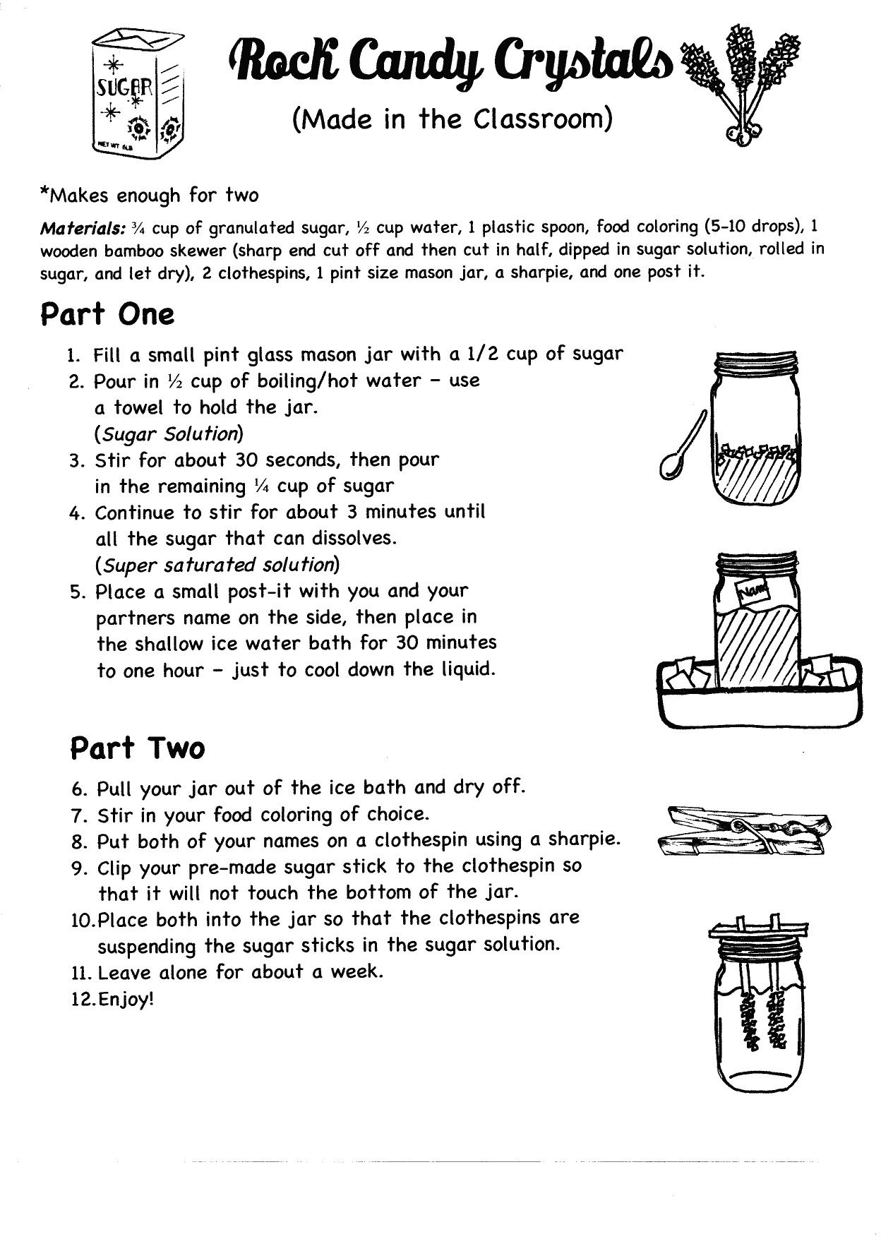 small resolution of Rock Candy Crystals in the classroom (pg.1 of 2). 8th grade - middle school  - categories of cryst…   Candy science experiments