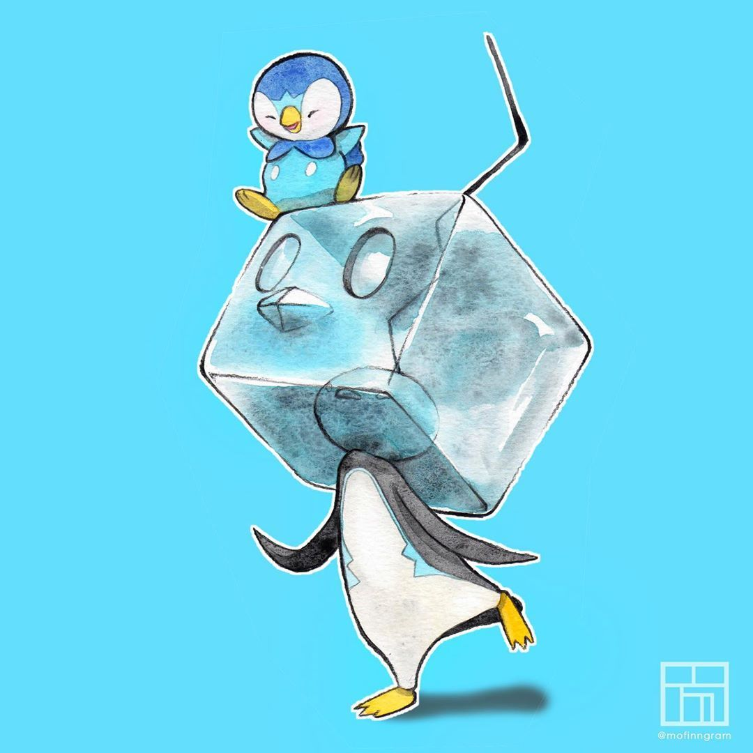 """Mofinn on Instagram: """"The 'Penguins' Friendship 🐧❄️ Eiscue's design is  just 💥 🔥 😍 #galar #eiscue #piplup #watercolor #friend… 