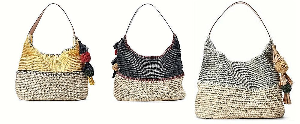NEW SONOMA womens Pom Pom Tassel Sage Colorblock Hobo slouchy handbag bag