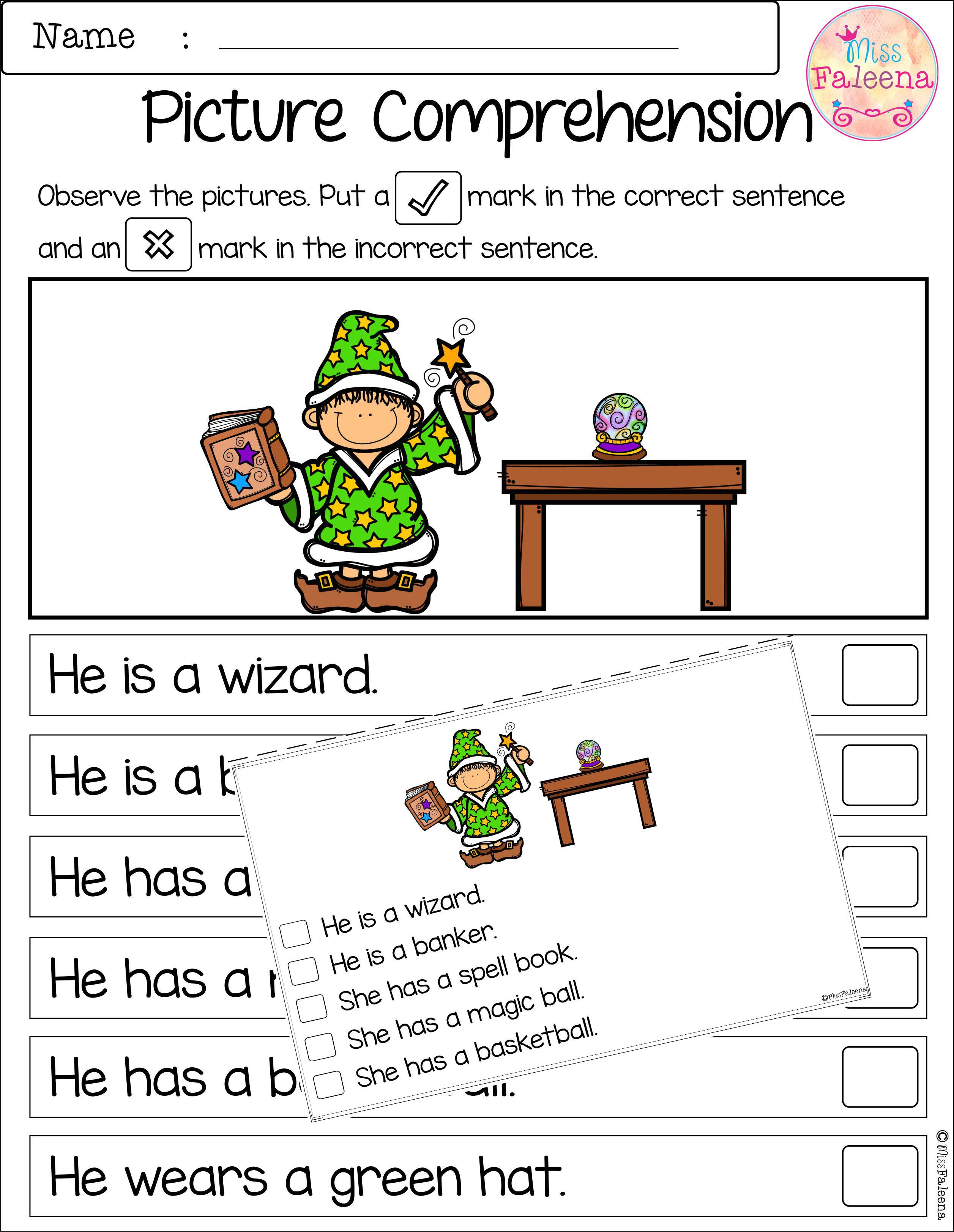 Free Picture Comprehension Cards And Worksheets There Are 4 Cards And 4 Worksheets Of Picture Comprehension First Grade Freebies Special Education Elementary [ 3247 x 2513 Pixel ]