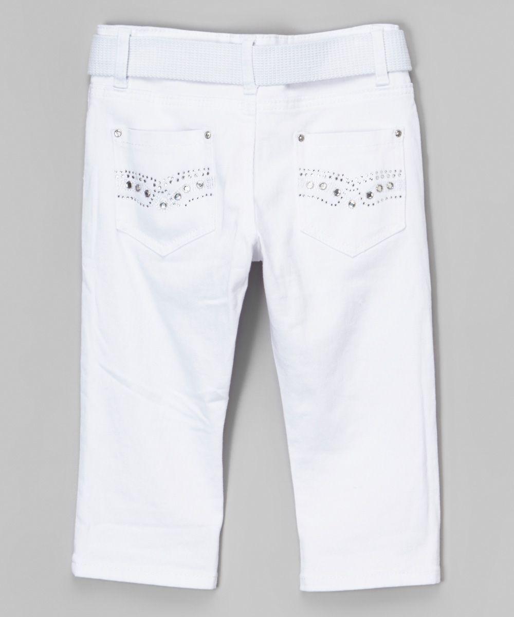 White Capri Pants & Belt - Girls | Girls, Capri and Pants