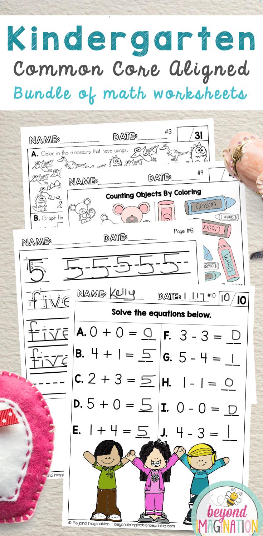 Kindergarten Common Core Aligned Worksheets For All 22 K Math St Common Core Kindergarten Common Core Math Kindergarten Kindergarten Math Common Core Standards