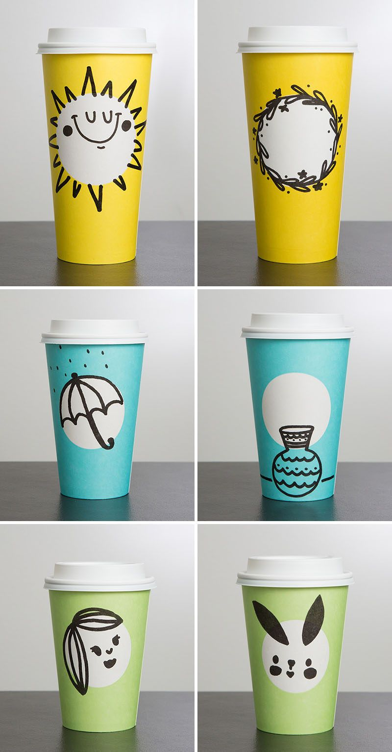 Starbucks Unveils New Spring Themed Cups In Three Fun Colors Paper Cup Design Typography Packaging Coffee Cup Design