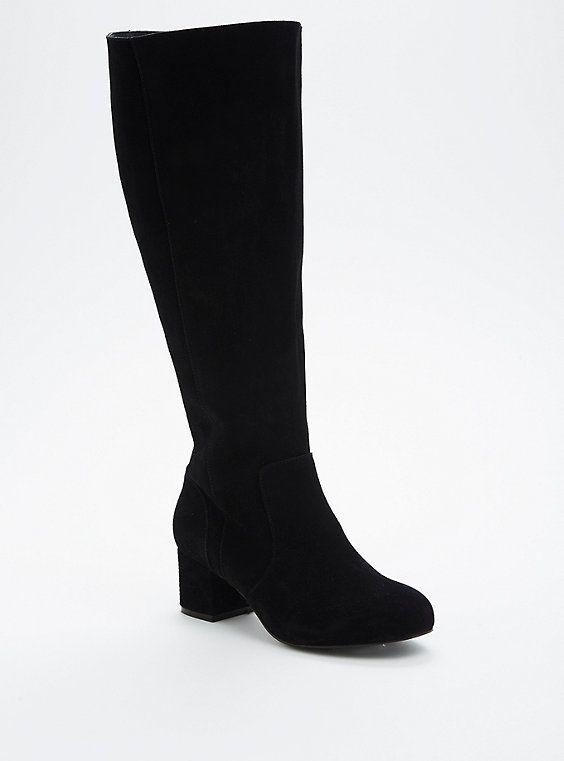 8ee19fb89b9 Genuine Suede Mini Block Heel Boots (Wide Width & Wide Calf)   Shoes ...