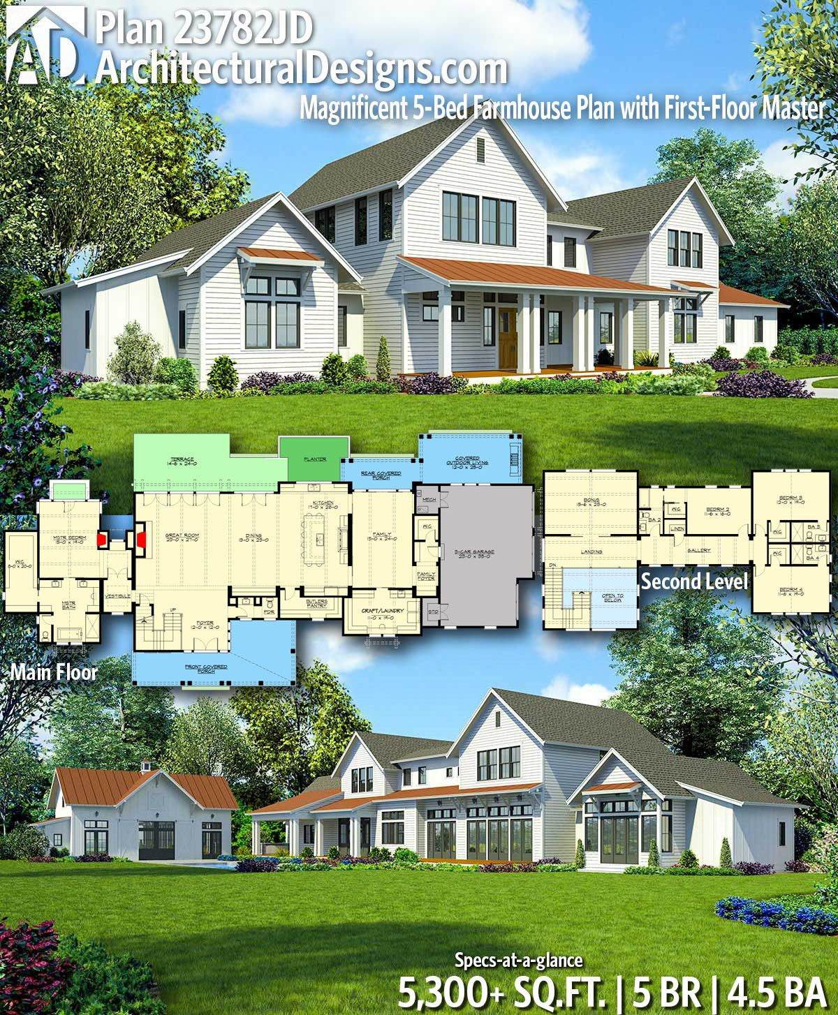 Plan 23782JD Sprawling Modern Farmhouse Plan with First