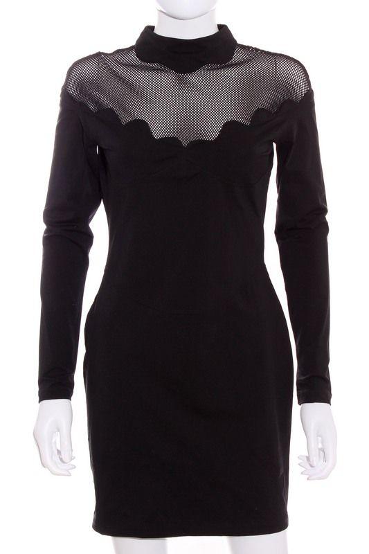Un vestido ideal para esta Nochevieja 2015! Vestido Mujer negro con rejilla segunda mano ropa barata talla M