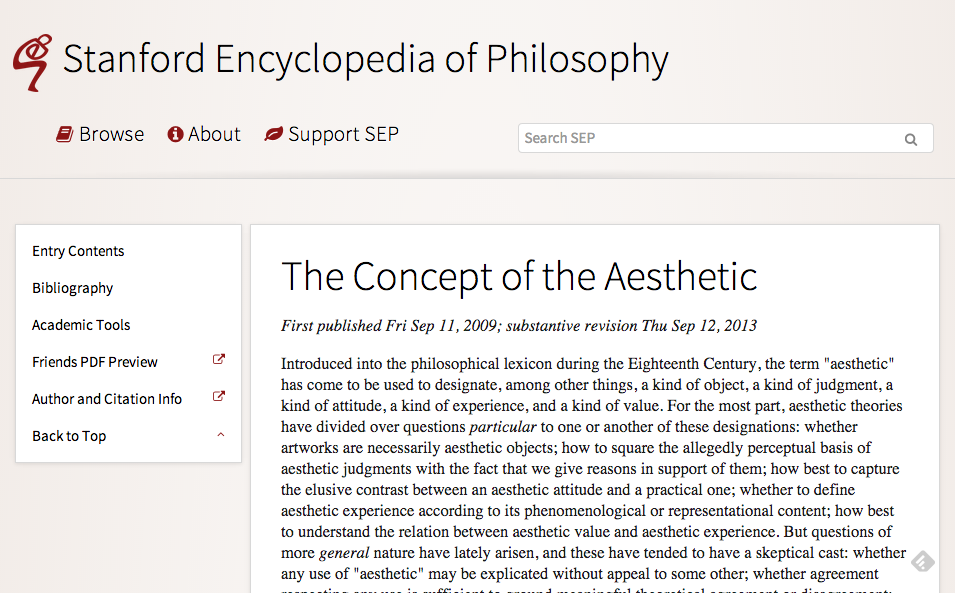 An Introductory Reading On The Concept Of The Aesthetic From The Stanford Encyclopedia Of Philosophy Encyclopedia Of Philosophy Aesthetic Philosophy