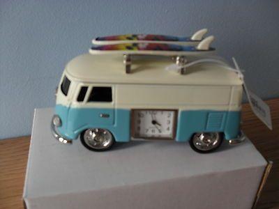 Diecast Blue VW Style Split-Screen Camper Van Surf Bus Miniature Clock
