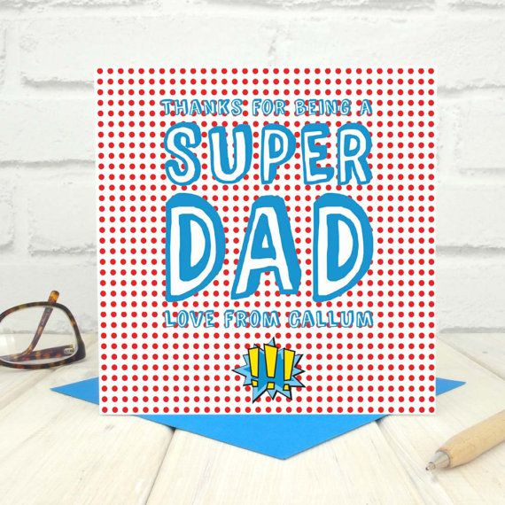 Super Dad Birthday Card Personalised Super Hero Dad Card Fathers