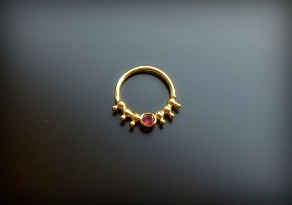 Gold Septum Ring For Pierced Nose With Garnet Septum Jewelry