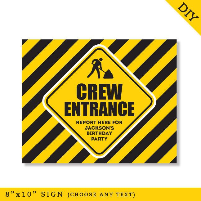 Construction Party Signs Editable And Printable 8x10 Signs Instant Download Construction Party Construction Birthday Parties Construction Birthday
