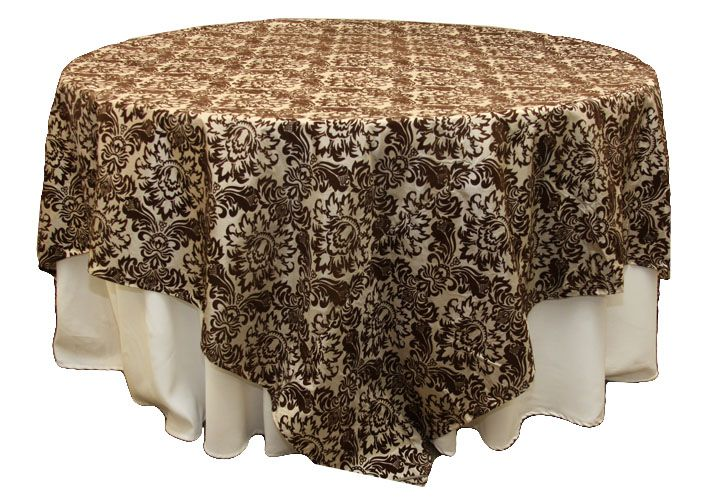 90 Flocking Table Overlay Chocolate Champagne Over Black Cloth Or The Whole Tablecloth Like This