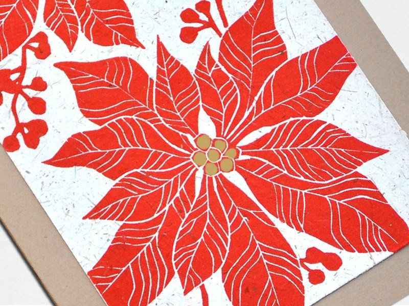 Handmade Christmas Card - Poinsettia - Linocut - The Imagination Spot - 3