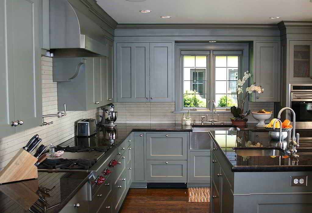 Delightful Dark Countertop For Island Under Gray Kitchen