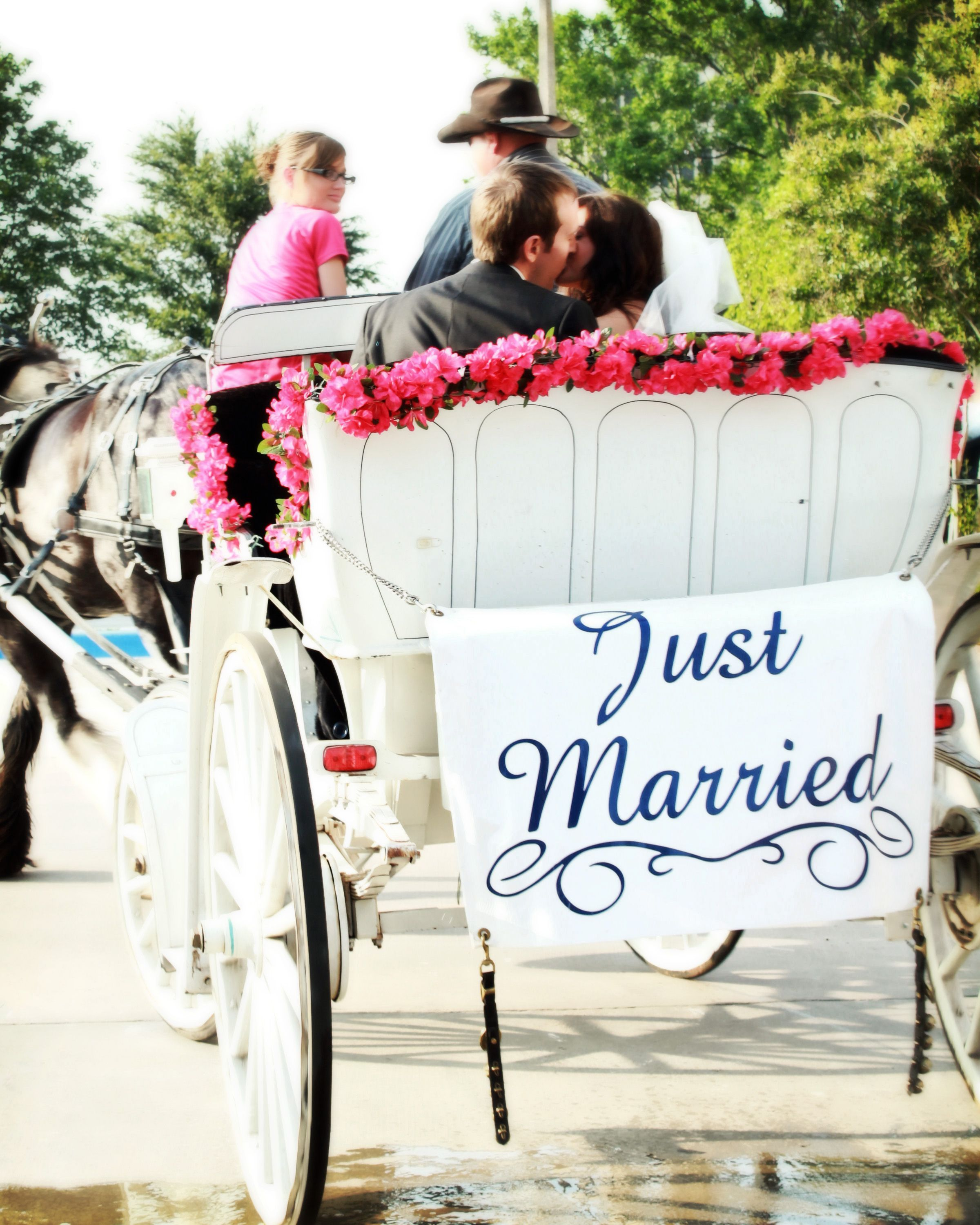 Horse drawn carriage just married! Yepp, how I want my
