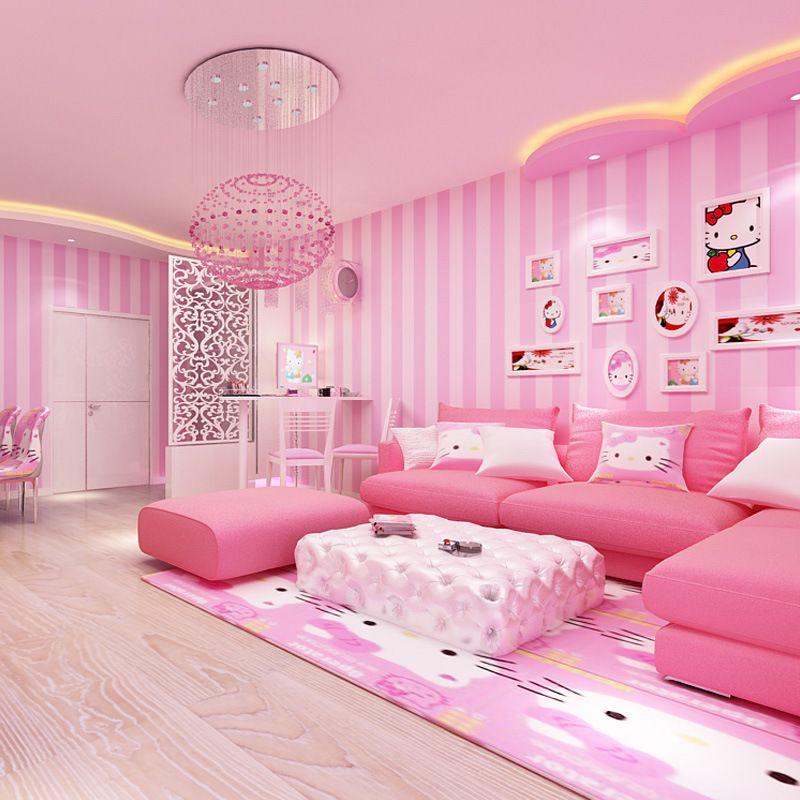 beibehang Modern simple wide striped pink wallpaper cute children ...