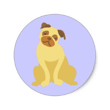 Cute pug dog classic round sticker dog puppy dogs doggy pup hound love pet best