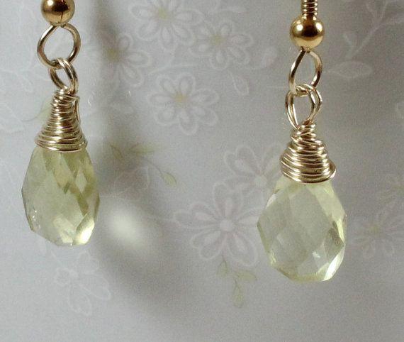 Silver Macrame earrings Light yellow earrings Bright ... |Light Yellow Gemstone Earrings
