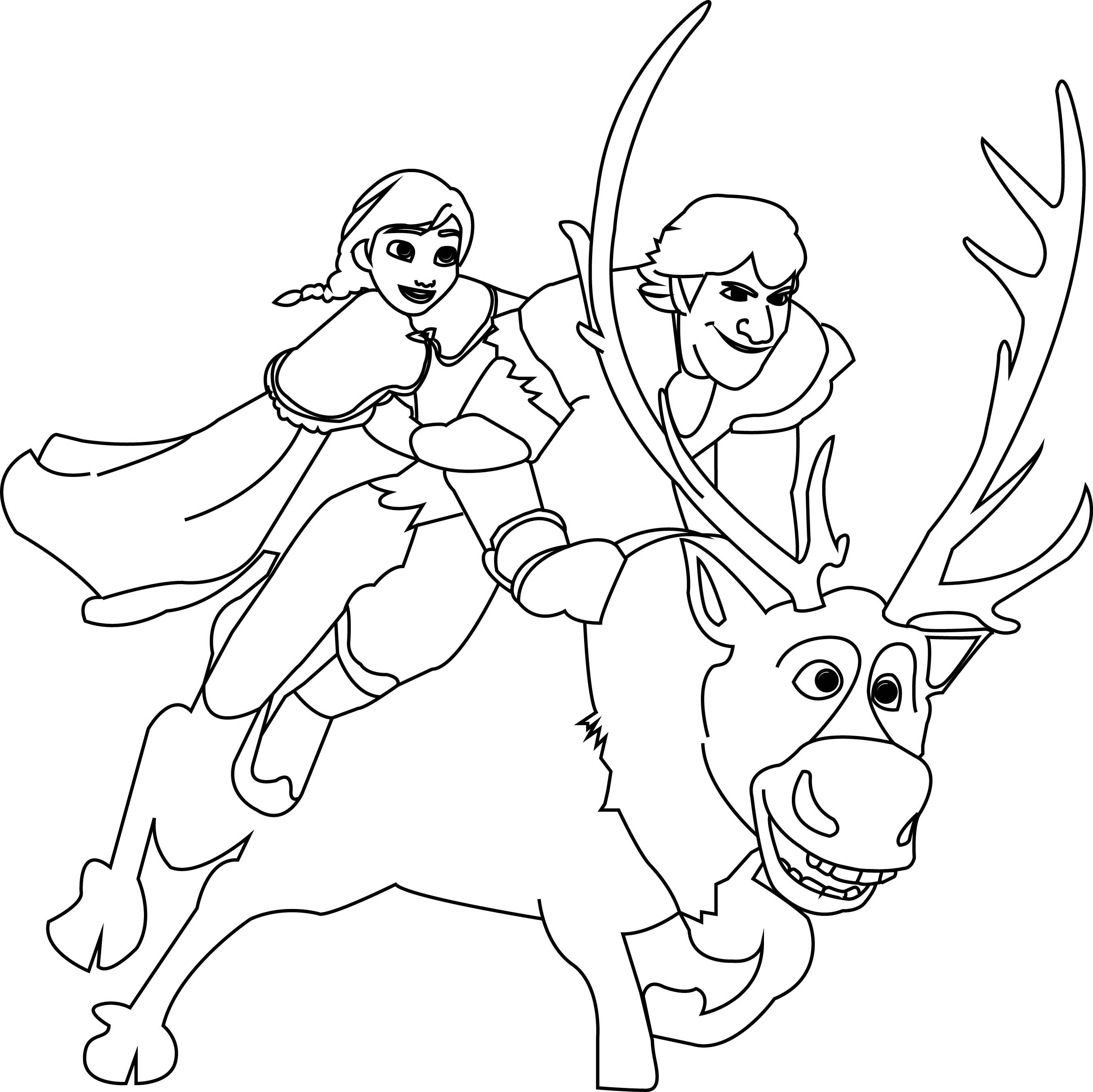 Nice Anna Kristoff And Sven Coloring Page Frozen Coloring Elsa Coloring Pages Deer Coloring Pages