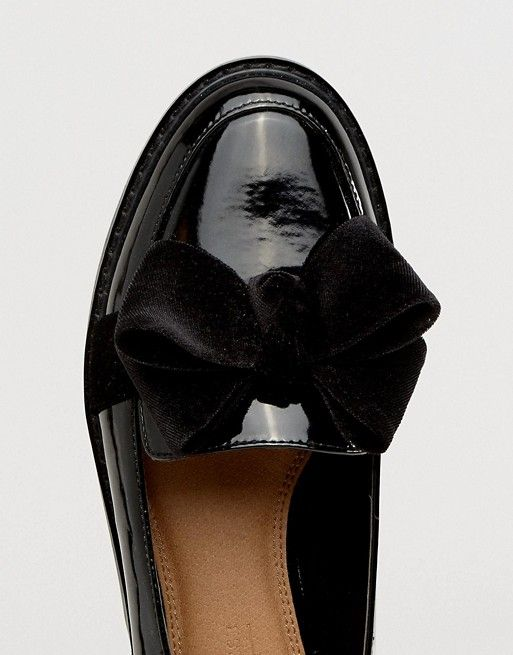 Asos Entremetteur Oisif Chaussures Plates - Velours Nude / Noir Vo89QrNDl