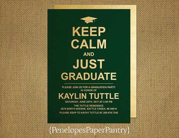 Graduation Invitation And Graduation AnnouncementGreen On Gold