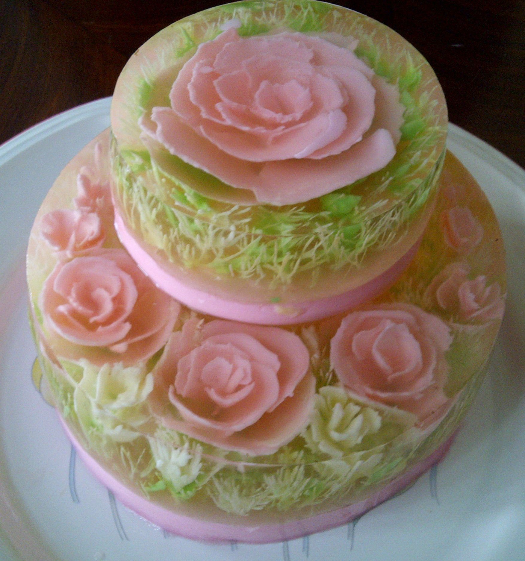 Pink Roses In 2 Tiers Jelly Art Jelly Jello Cake 3d