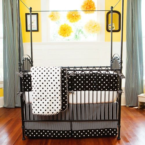 Black And White Crib Bedding Dot Carousel Designs