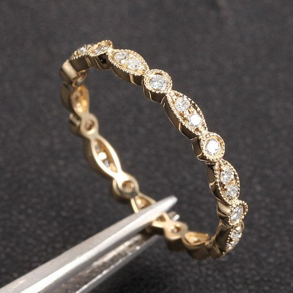 Art Deco Ring Antique Style 32ct Diamond Milgrain Wedding Band 14k Yellow Gold