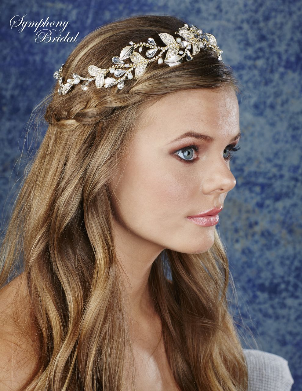 Beautiful Golden Pearl and Rhinestone Halo Headpiece Symphony Bridal HL121 - Affordable Elegance Bridal -