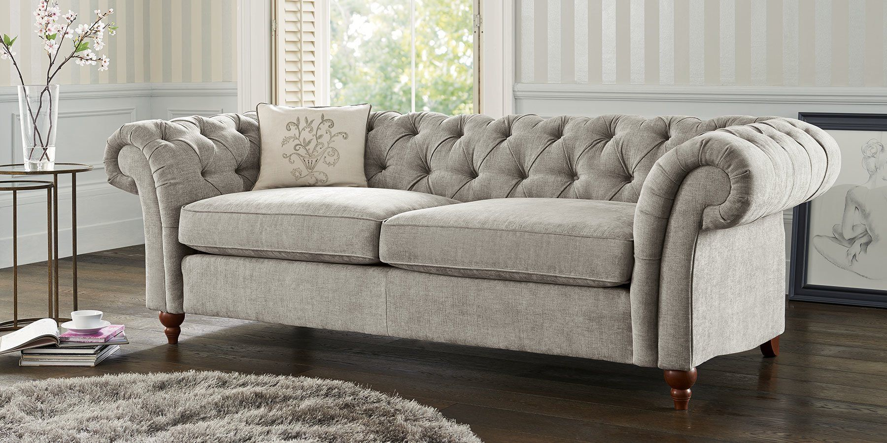 sumptuous design ideas english style sofa. Buy Gosford Buttoned Large Sofa  3 Seats Sumptuous Velour Mid Silver LowTurned Dark