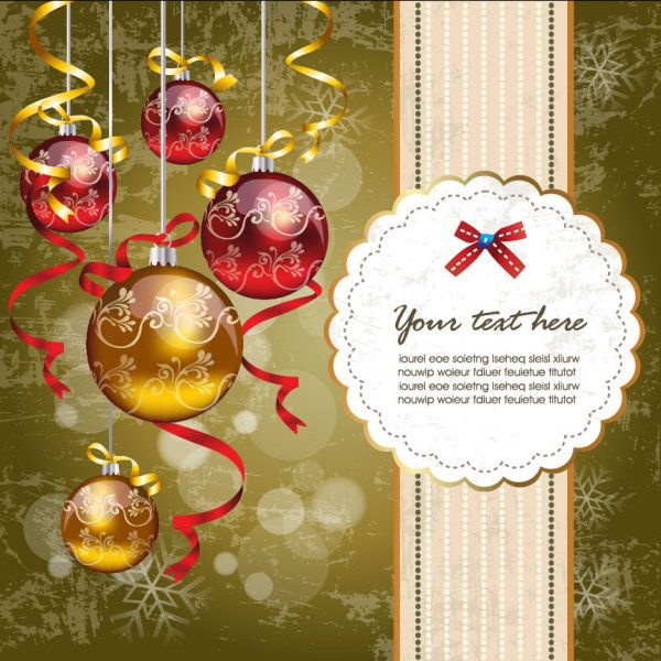 Christmas Ornaments With Greeting Card Background Vector 01 Christmas Greeting Card Template Merry Christmas Card Merry Christmas Card Greetings