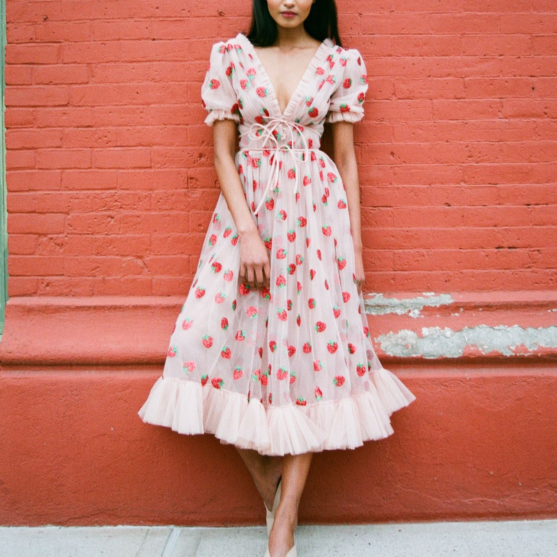 Lirika Matoshi Strawberry Midi Dress Midi Ruffle Dress Dresses Ruffle Midi Dress [ 1500 x 1500 Pixel ]