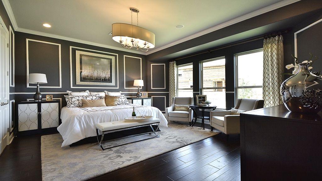 Great Art Deco Master Bedroom With Crown Molding Chandelier In