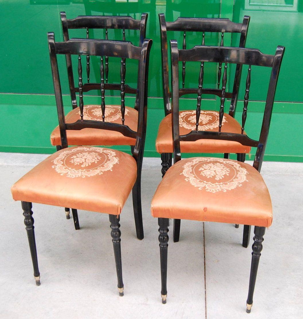 4 Sedie Vintage Laccate Nere Anni 39 60 Mobili D 39 Epoca