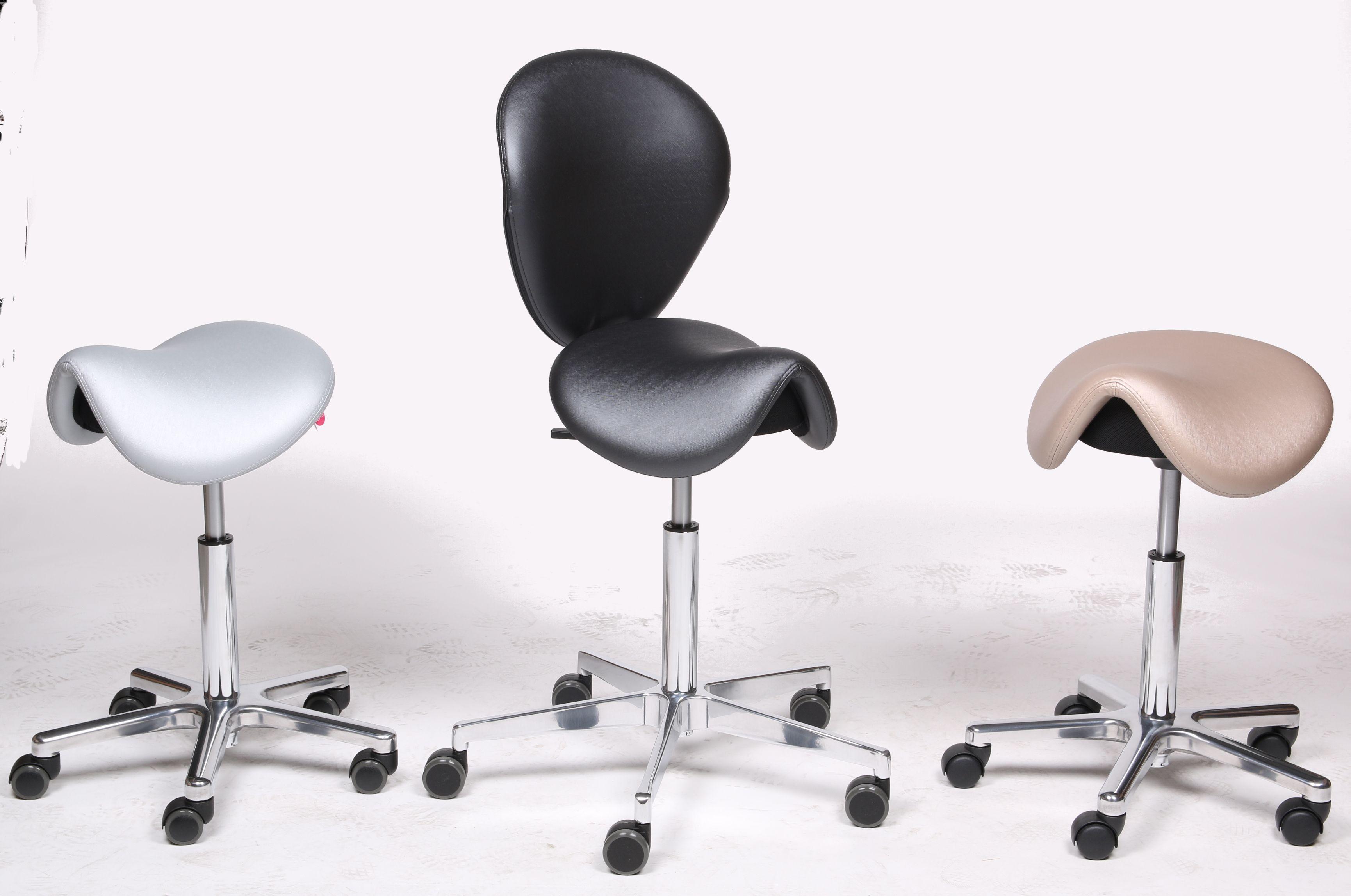 Lento Bürostühle das fantastische trio die sattelsitze sella in metallischem glanz