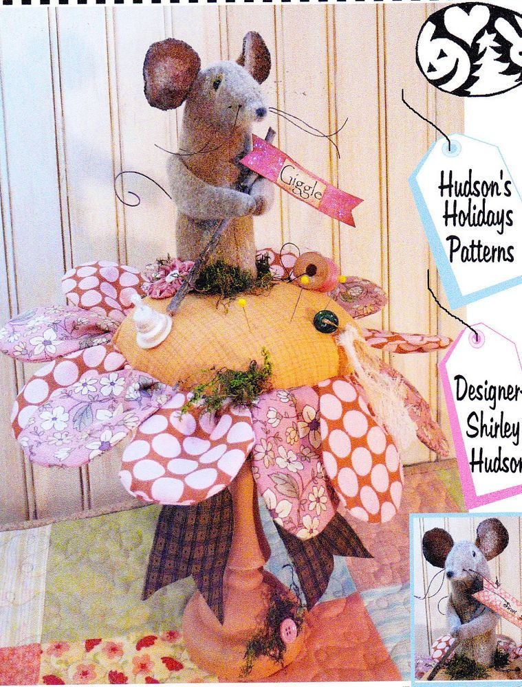 PATTERN - Lil Posie & Mouse Pincushion - cute sewing accessory PATTERN