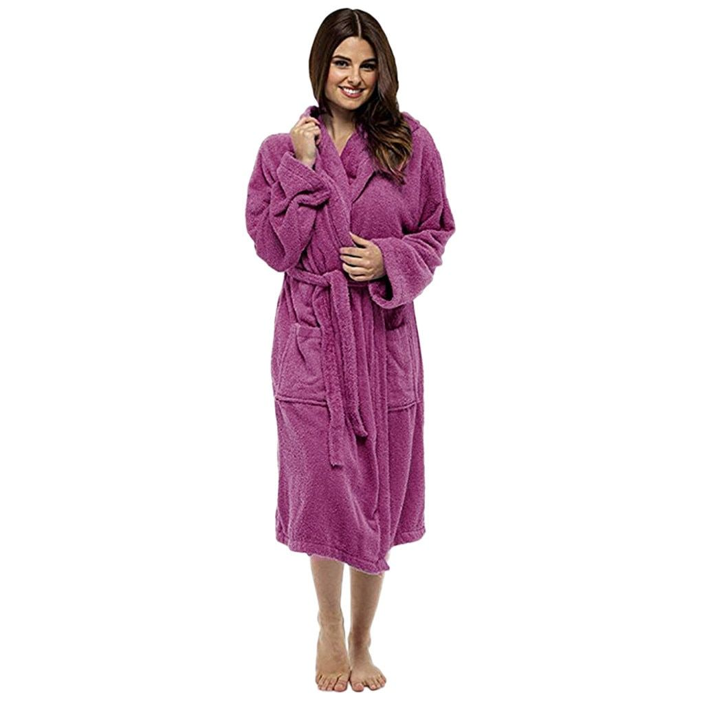 Women/'s Winter Lengthened Plush Shawl Bathrobe Sleepweer Long Sleeved  Home Coat