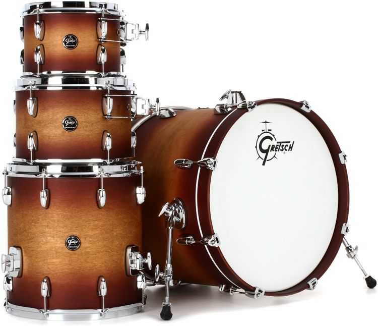 Gretsch Drums Renown 4 Piece Shell Pack With 20 Kick Satin Tobacco Burst Gretsch Drums Gretsch Drums