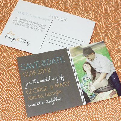 Save the Date Postcard Template with Photo  Chalkboard Type