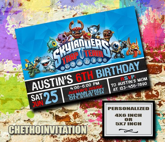 Skylanders Invitation Birthday Party Sk