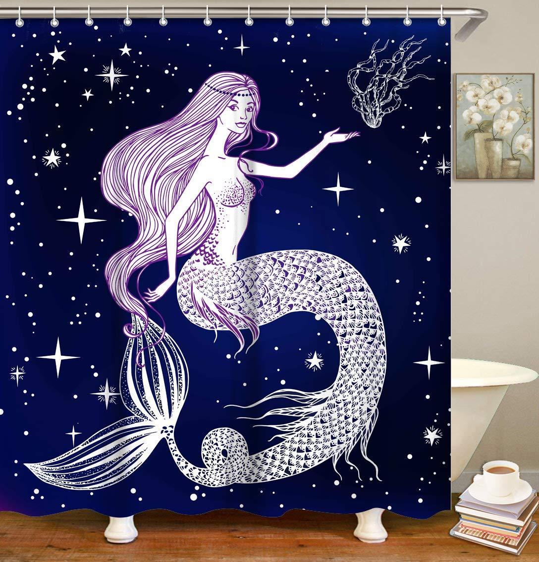 Amazon Com Livilan Mermaid Shower Curtain Set With 12 Hooks