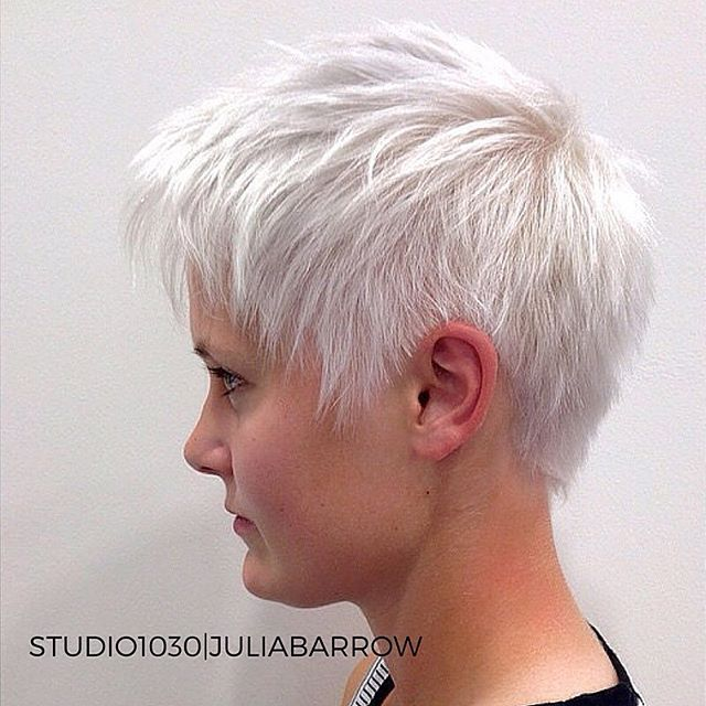 How perfect is this icy platinum blonde pixie?! Thanks to our fabulous stylist @jules_barr, who's always breaking out the coolest colors! #studio1030 #studio1030julia #platinumblonde #whiteblonde #pixiecut #colorwizard #behindthechair #maneaddicts #byu #provo #utahvalley #exploreprovo
