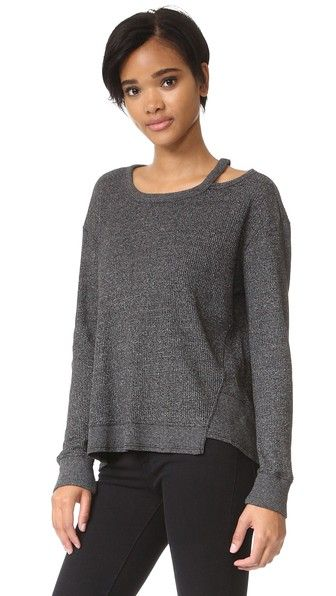 Black Heather Wilt Open Neck Thermal Slouchy Top