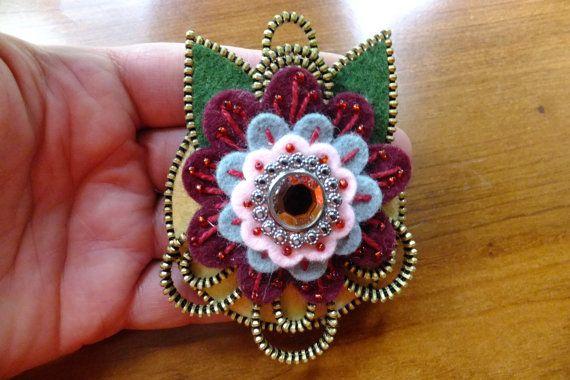 Flower Felt Zipper Brooch For Coat/Jacket/Hat ❤ by MsLolaCreates, $32.00