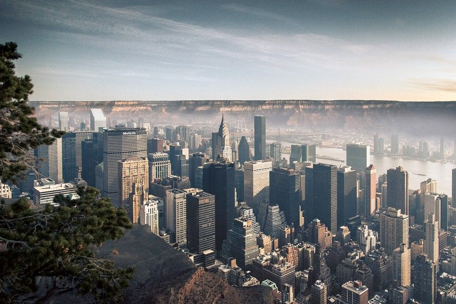 In This Project Two Opposite Places Are Merged Into One New York - Incredible 360 degree aerial photography by andrew griffiths